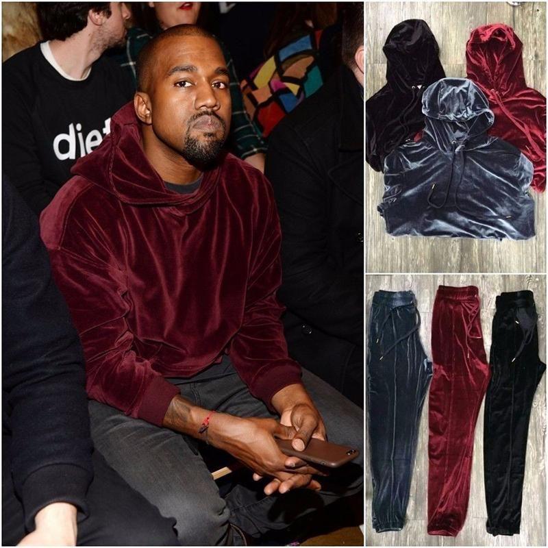 2017 New Arrived Kanye West Streetwear Solid Color100 Velvet Hoodies Men Pullovers Hip Hop Long Sweatshirts You Hoodies Men Pullover Velvet Hoodie Hoodies Men