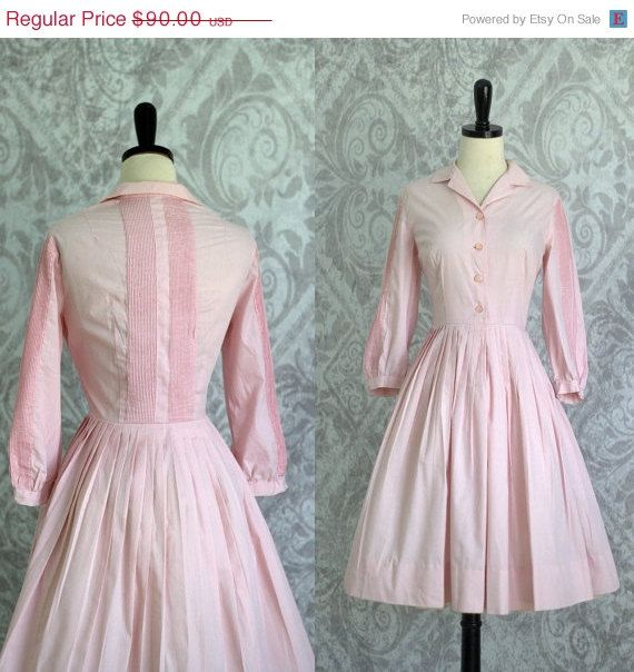 Vintage 1950s Dress 50s Dress Womens Pale by SassySisterVintage