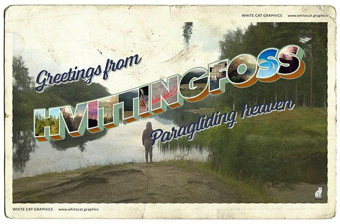 Postcard of Hvittingfoss, Norway.