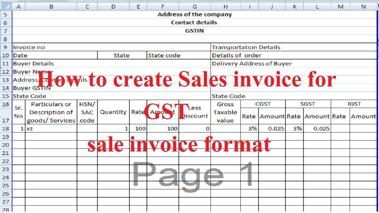 Image Result For Gst Billing Format In Excel Invoice