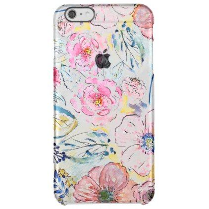 Beautiful Romantic Watercolor Floral Clear Iphone 6 Plus Case