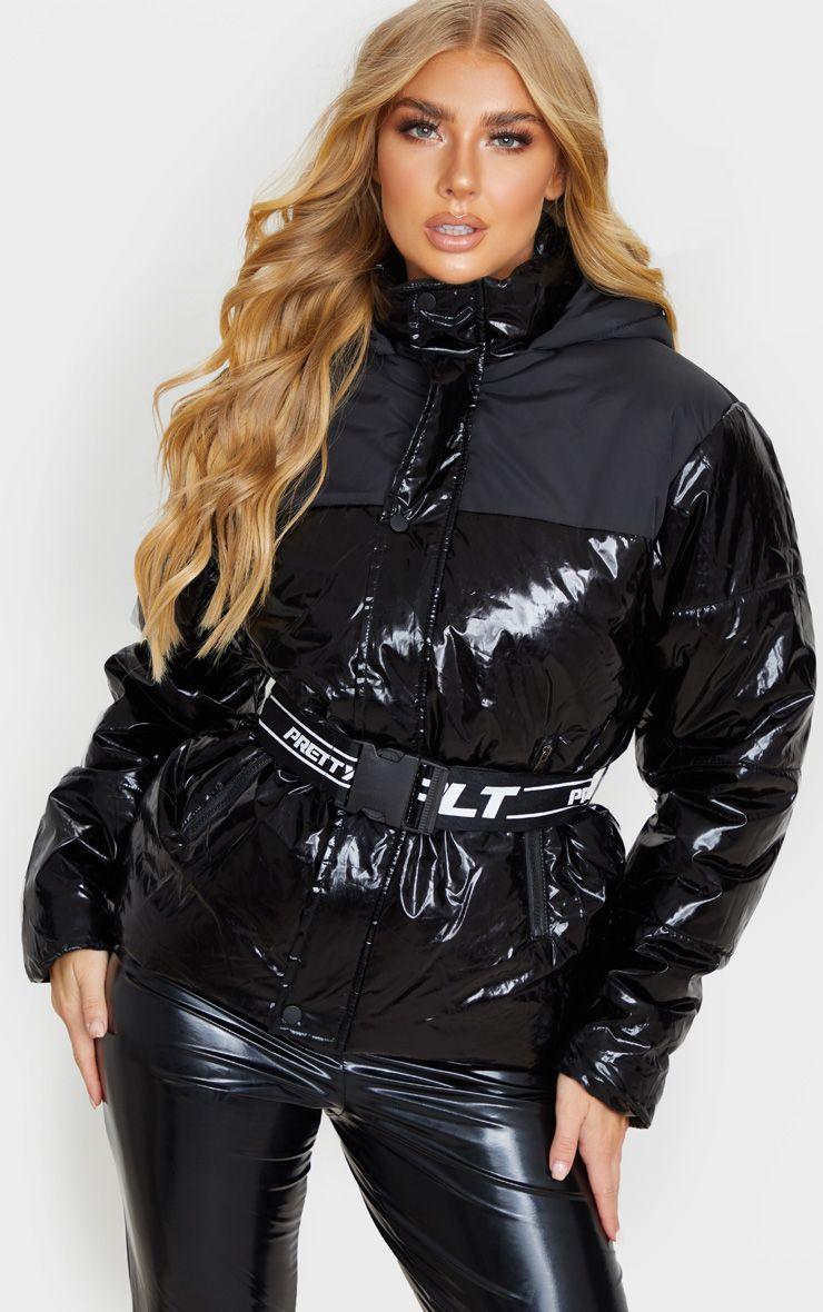 Prettylittlething Black Metallic Contrast Panel Puffer Jacket Wet Look Leggings Puffer Jacket Outfit Fashion [ 1180 x 740 Pixel ]
