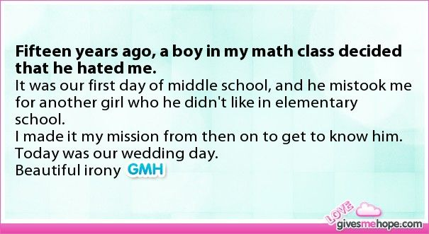 Fifteen years ago, a boy in my math class decided that he hated me. Persistence yeah?