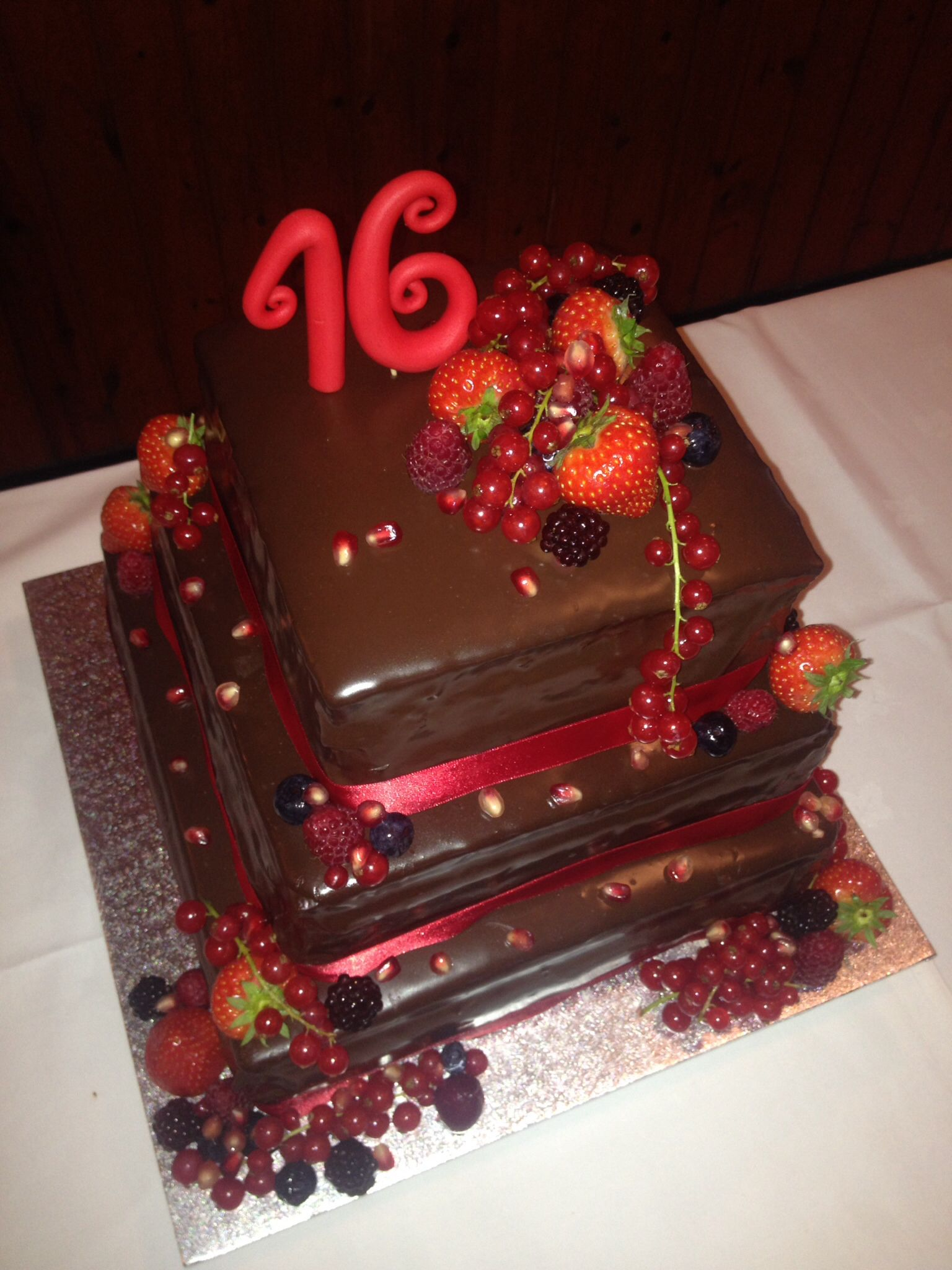 Triple Chocolate Sweet Sixteen Cake