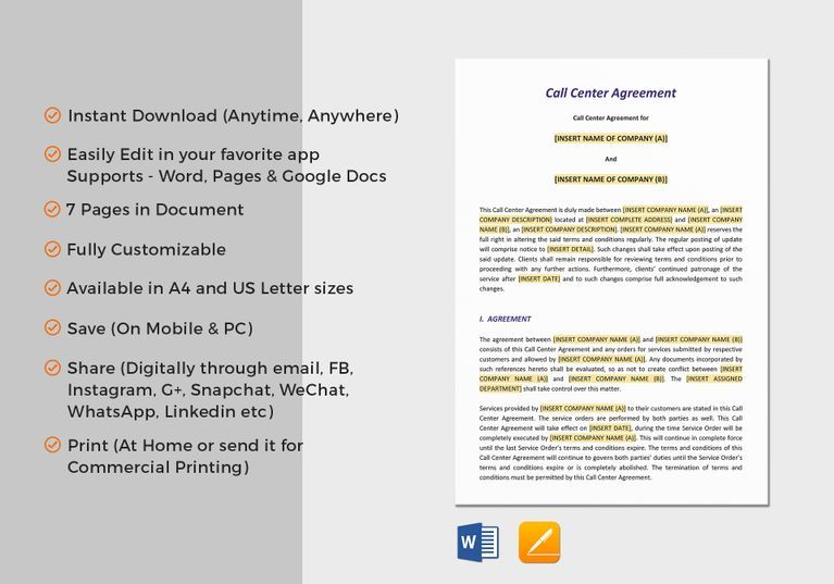 Call Center Agreement Template $18 Formats Included  Pages, MS Word - sample service agreements