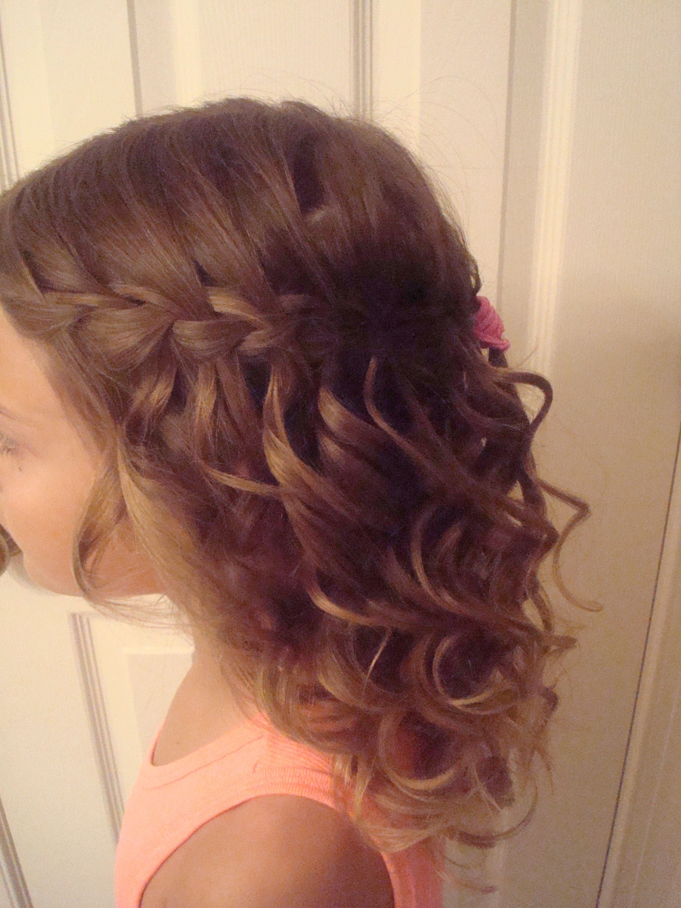 waterfall braid with curls | wedding hair | kids braided