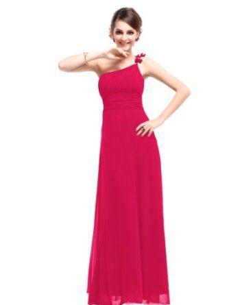Ever Pretty Flower Ruffles One Shoulder Empire Line Formal Dress 09596,