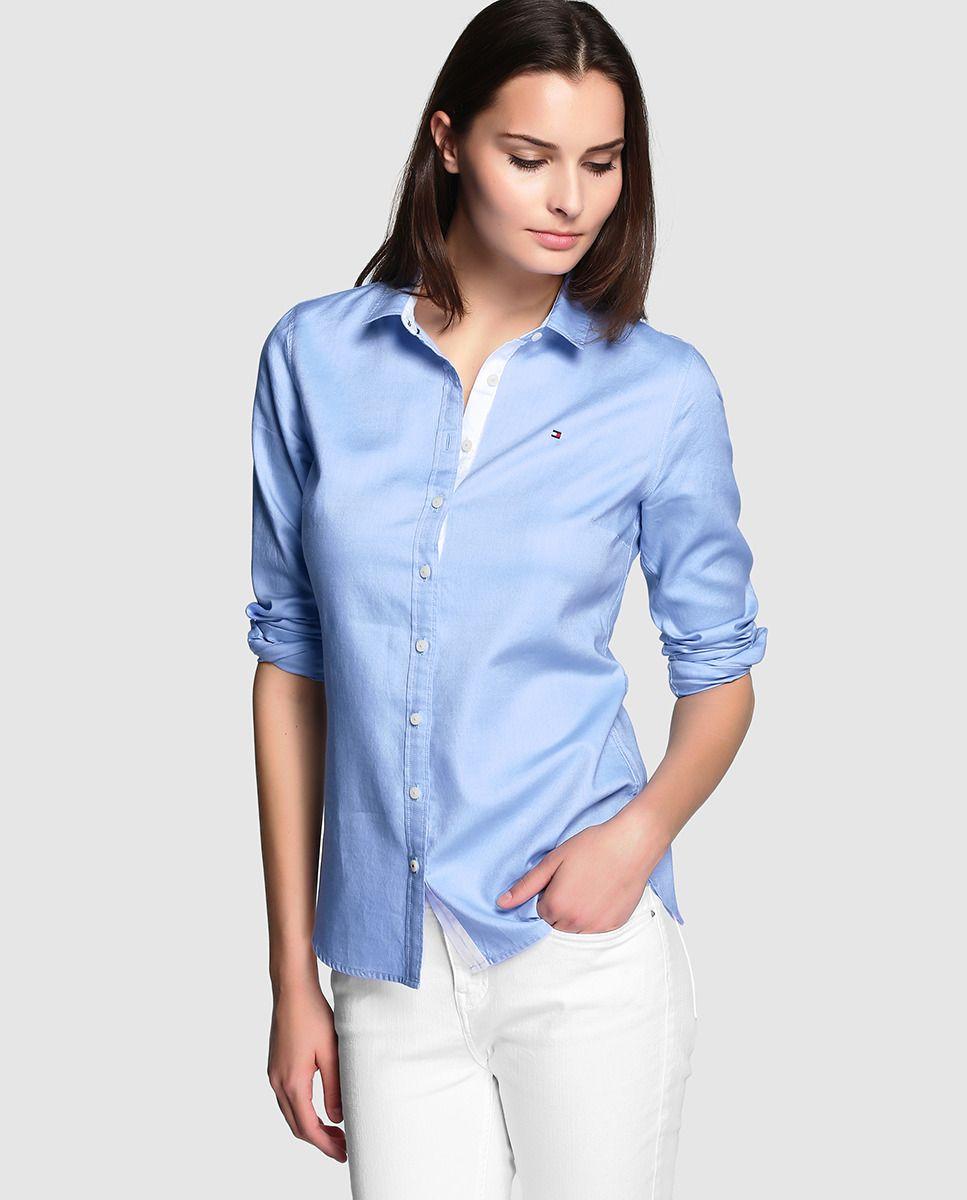 83c47d9f8 Blusa de mujer Tommy Hilfiger en azul con manga larga Tommy Hilfiger Camisas  Mujer