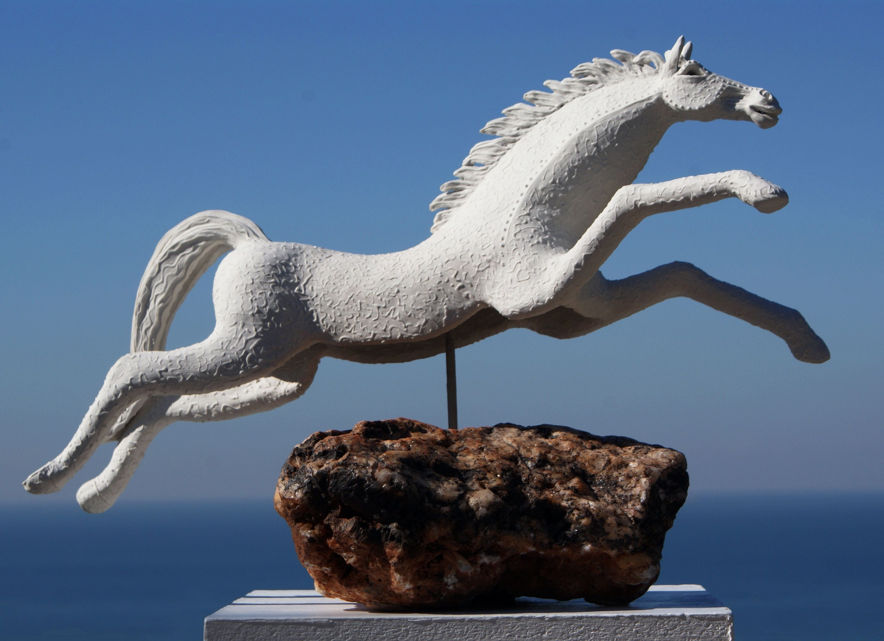 """Carol Hayward Fell - South Africa. """"Leaping Horse"""" High fired Stoneware and  porcelain clay, South African igneous volcanic rock and stainless … 
