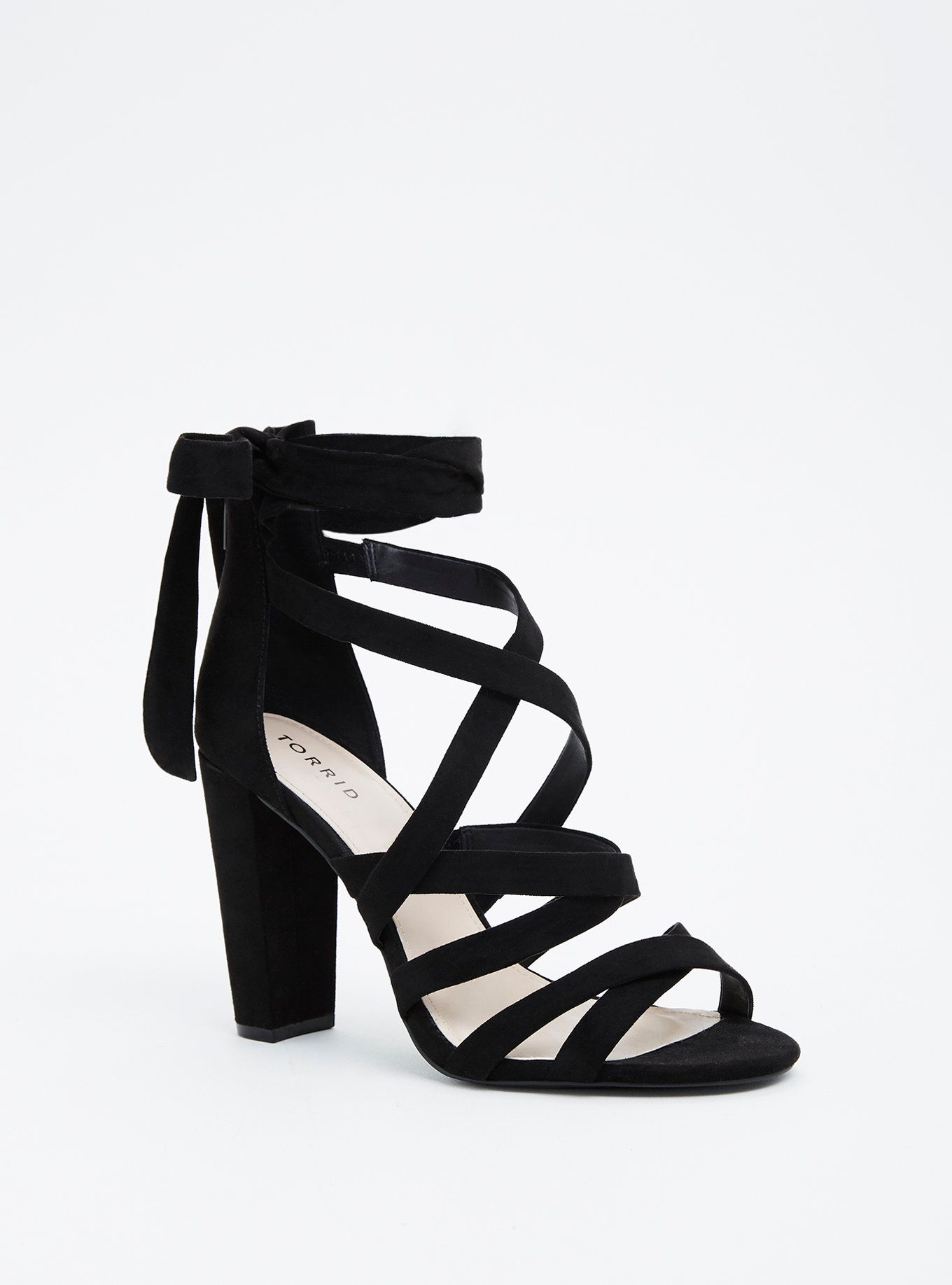 c34dfc5d28 Black Strappy Lace-Up Heel Sandal (Wide Width) | Plus Size and ...