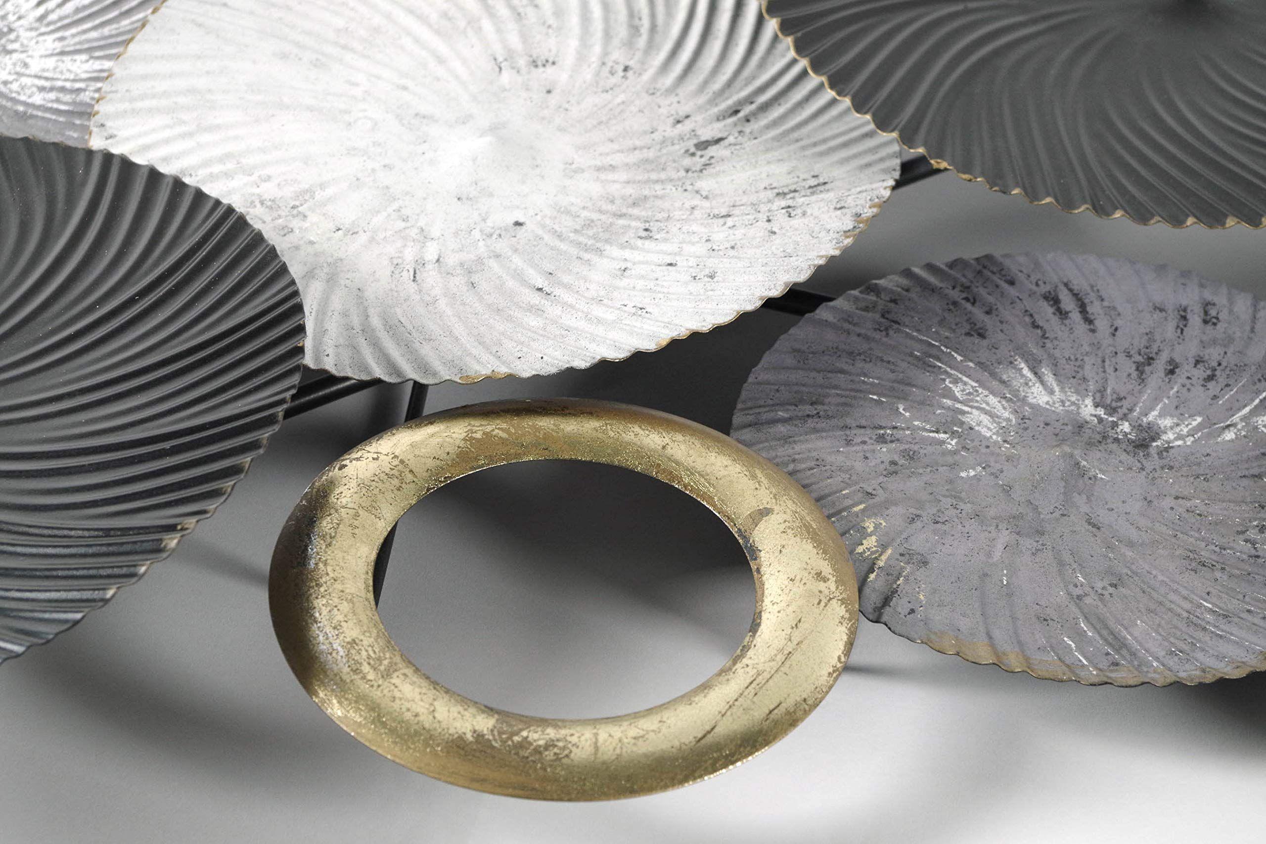 amazon de kobolo wandbild metallbild 3d bild swirl metall weiss grau gold ca 120x54 cm bilder wandbilder 3 d deko für die wand aus wanddekoration engelsflügel