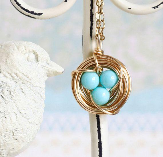 Turquoise nest necklace gold nest pendant woodland necklace aqua birds nest necklace aqua robins eggs gift by jacarandadesigns mynah birds have blue eggs aloadofball Choice Image