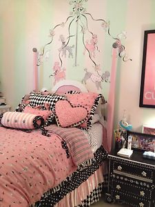 custom full duvet set girls kids reversible duvet, pillows, shams, bedskirt euc