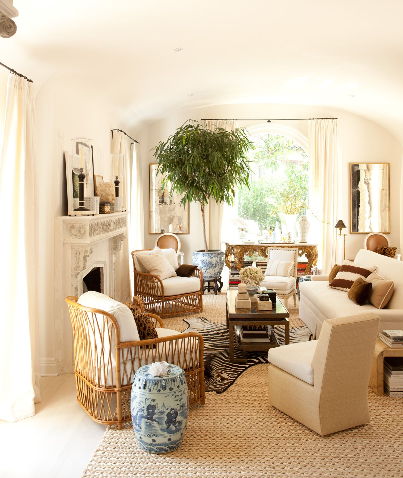 Wicker Rattan Chairs Hollywood Hills No  Mark D Sikes -  colonial living room furniture