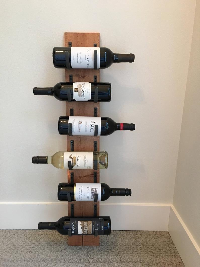 6 bottles handmade wallmounted wine rack distressed wood