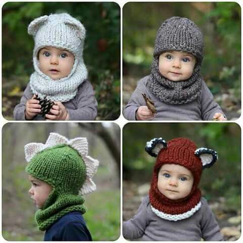 Cute Animal Knitted Hoods For Kids | Inspiración Happy Little Wool ...