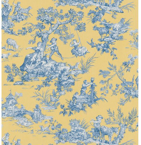 Image Detail For Brewster Wallcovering Blue And Yellow Toile