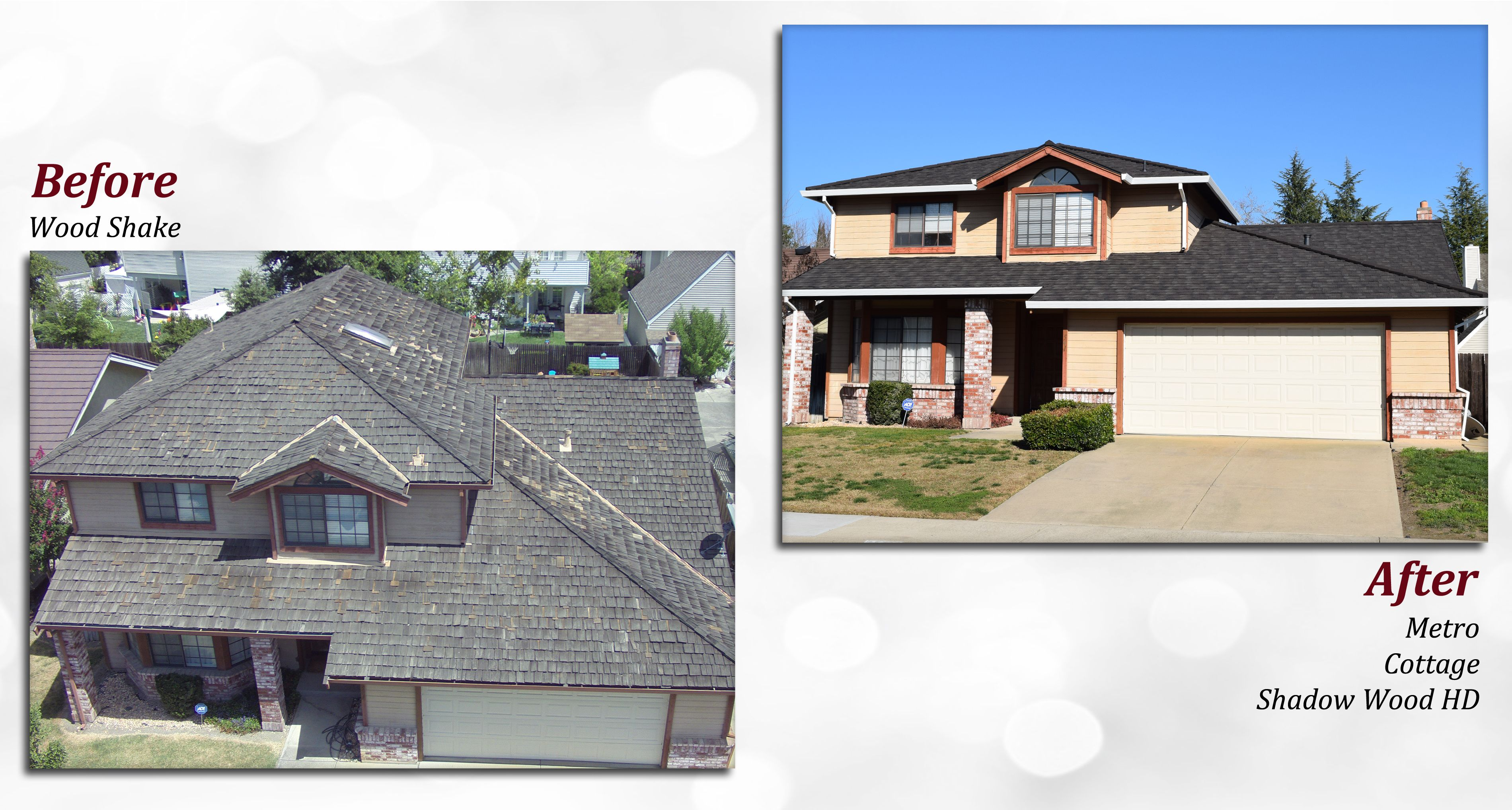 Before After Of A Metro Stone Coated Steel Roof Profile Cottage Color Shadow Wood Hd Wood Shakes House Styles Cottage