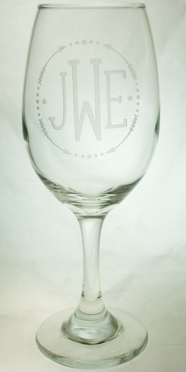 Trendy Arrow Design With Monogram Wedding Party Etched Sand Carved Wine Gl Initial Pinned By