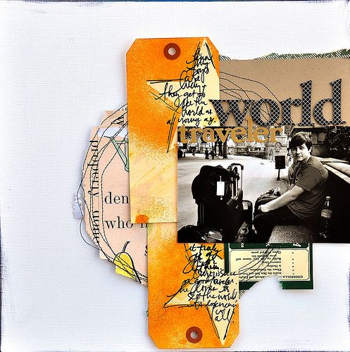 masked tags and stitching on a layout #scrapbooking