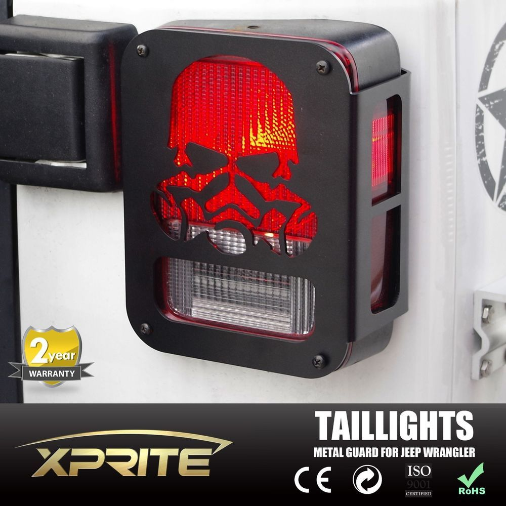 Pair Skull Rear Taillight Protector Guard Cover for 07-16 Jeep Wrangler JK JKU #Xprite