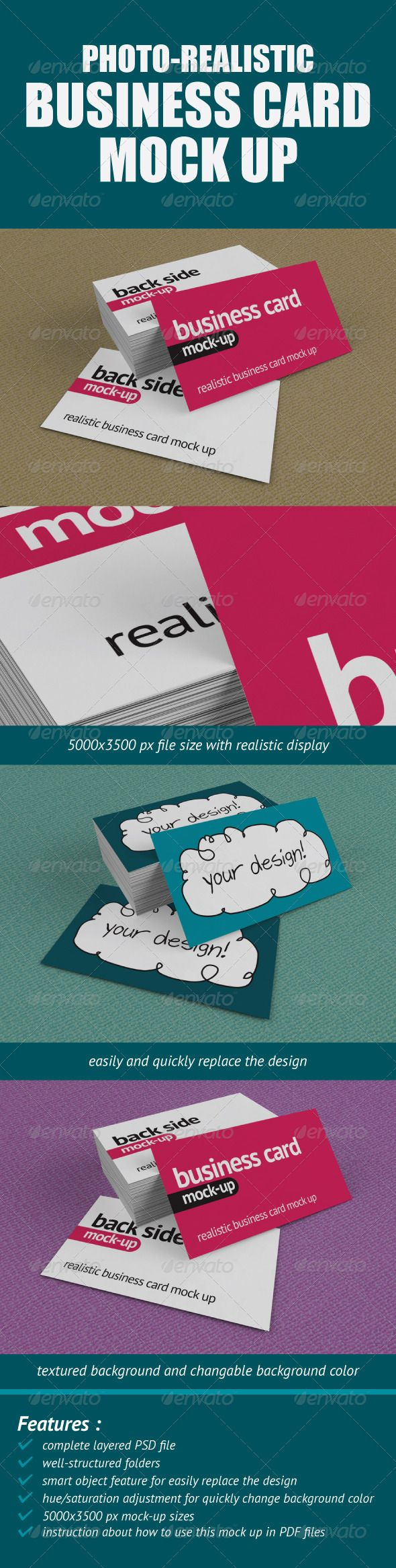 PhotoRealistic Business Card MockUp — Photoshop PSD #logo #preview • Available here → https://graphicriver.net/item/photorealistic-business-card-mockup/549753?ref=pxcr