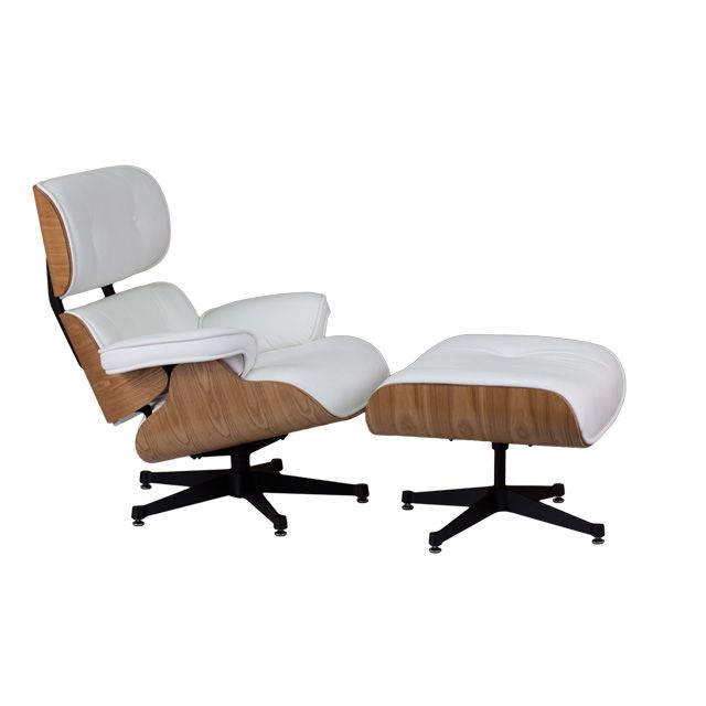 HERCULES Presideo Series Top Grain White Italian Leather Lounge Chair And Ottoman  Set With Metal Base Pictures Gallery