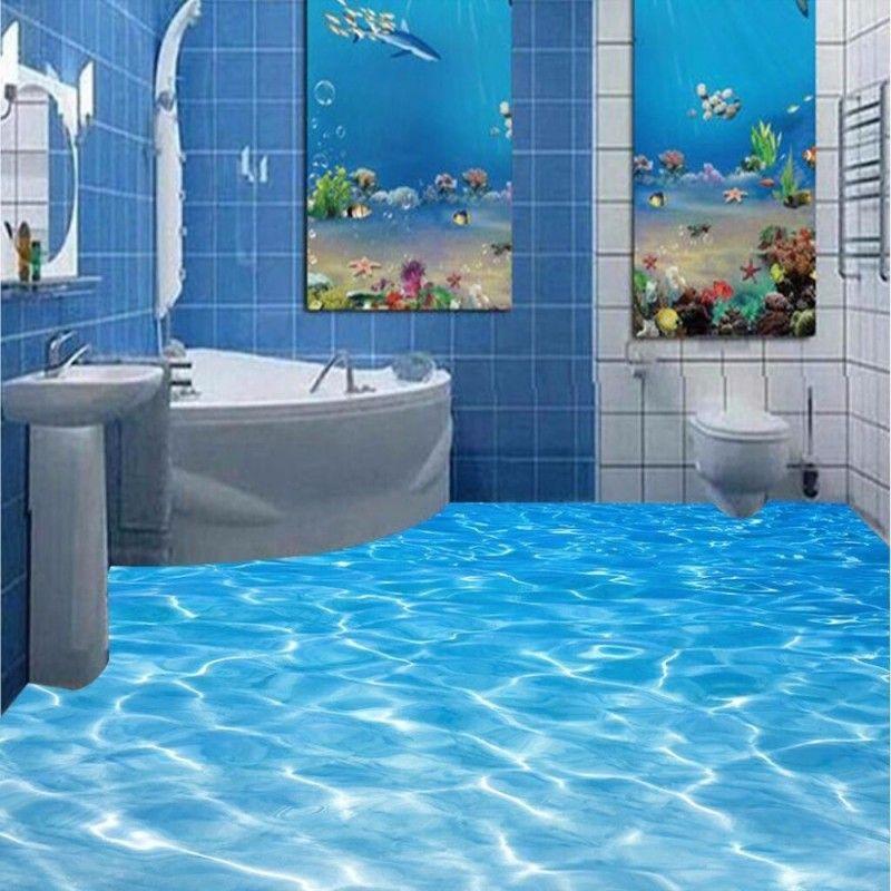 Self Adhesive Pvc Wallpaper Modern Painting Bathroom Custom 3d Floor Mural Sea Water Ripples Wear Non Slip Floor Wallpaper Floor Murals 3d Wallpaper For Walls