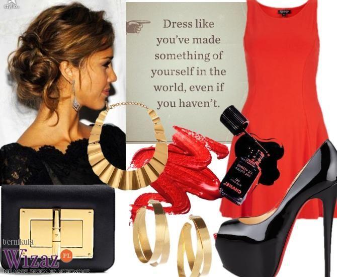 red dress black gold accessories | Casamiento | Pinterest | Black ...