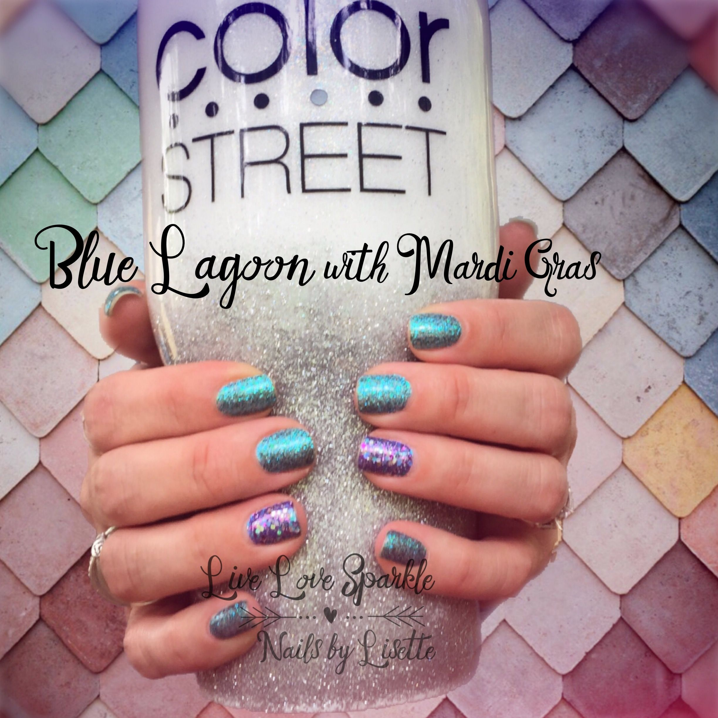 Blue Lagoon With Mardi Gras Accent Is Gorgeous Color Street Nails Nail Candy Get Nails
