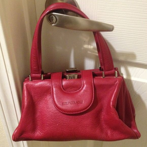 Authentic Bruno Magli Handbag Made In Italy Fuchsia Magenta Brunomagli Leather Got This As A Gift Very Soft Feels Like Lambskin