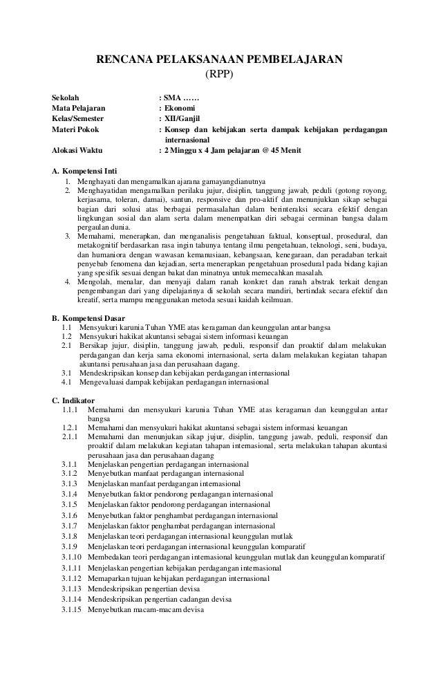 Rencana Pelaksanaan Pembelajaran Rpp Sekolah Sma Mata