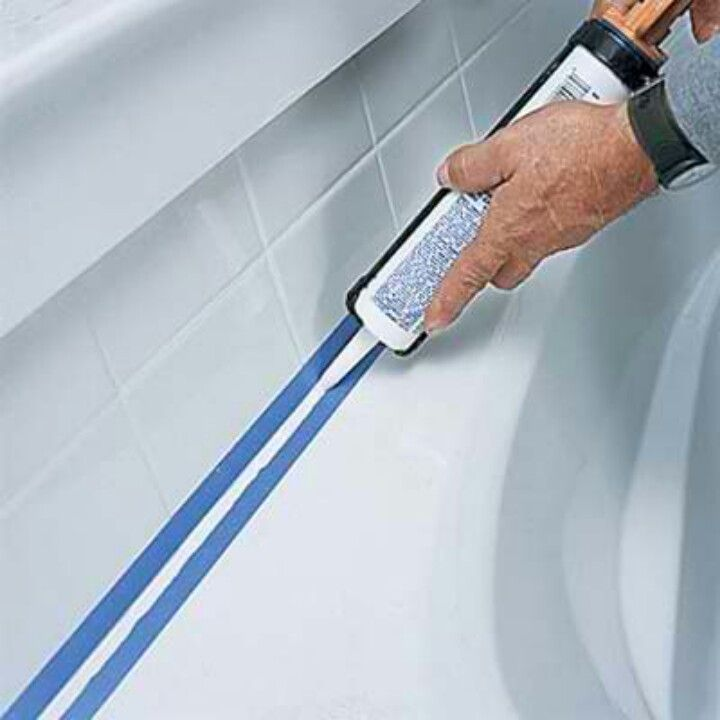 Put down tape before caulking. Smooth with finger and pull up tape ...