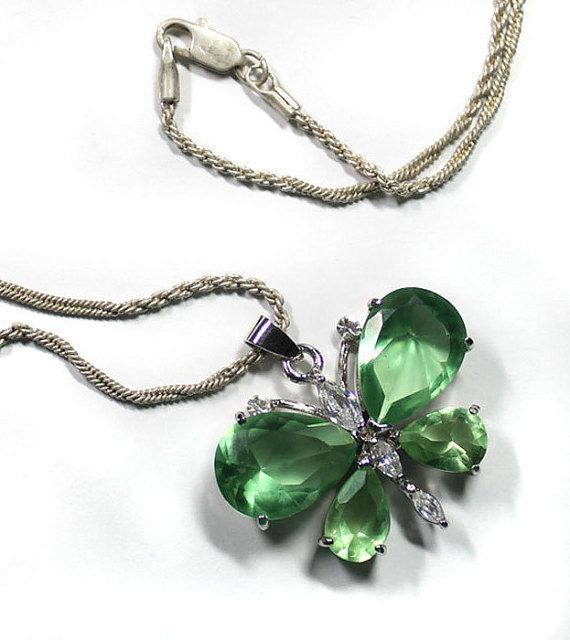 Butterfly Necklace Green Glass Butterfly by GodivasJewelryBox