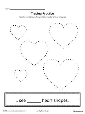 Geometric Shape Counting And Tracing Heart Shapes Lessons