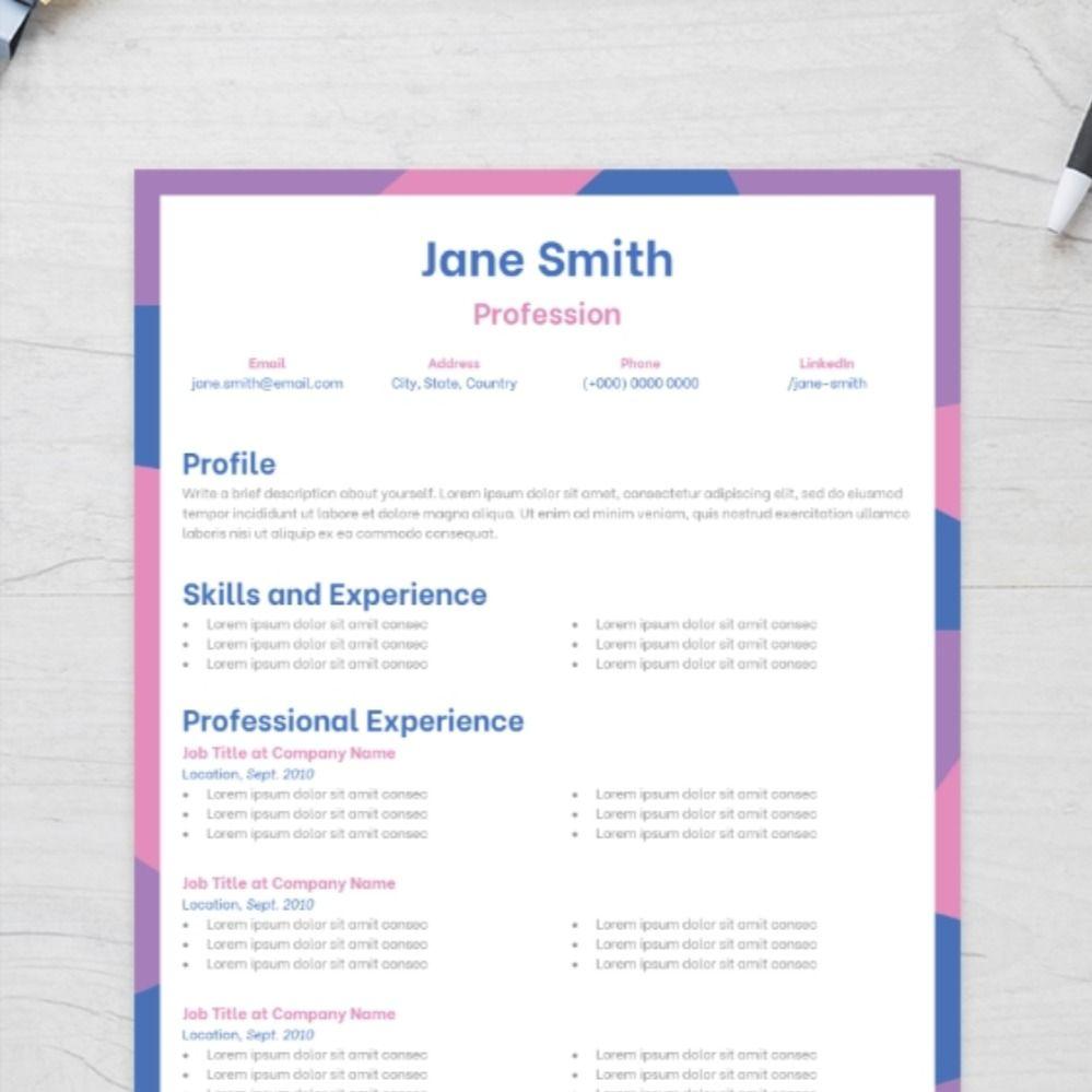 Gleeful CV Template Cv template, Templates, Resume design