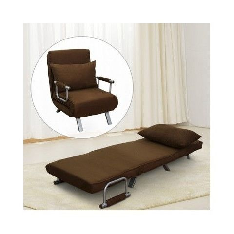 Brown Folding Convertible Chair Bed Cot Lounger Sleeper Furniture