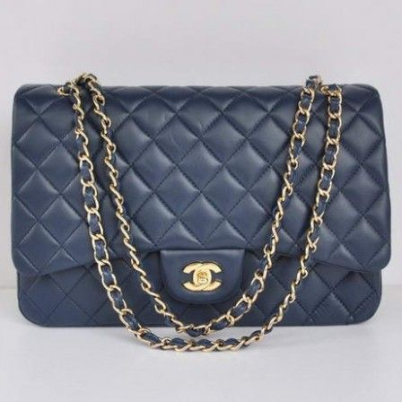 a4f4ab9f789f London Sale Replica Chanel A28601 Royalblue Sheepskin Leather Jumbo Flap  Bag Gold