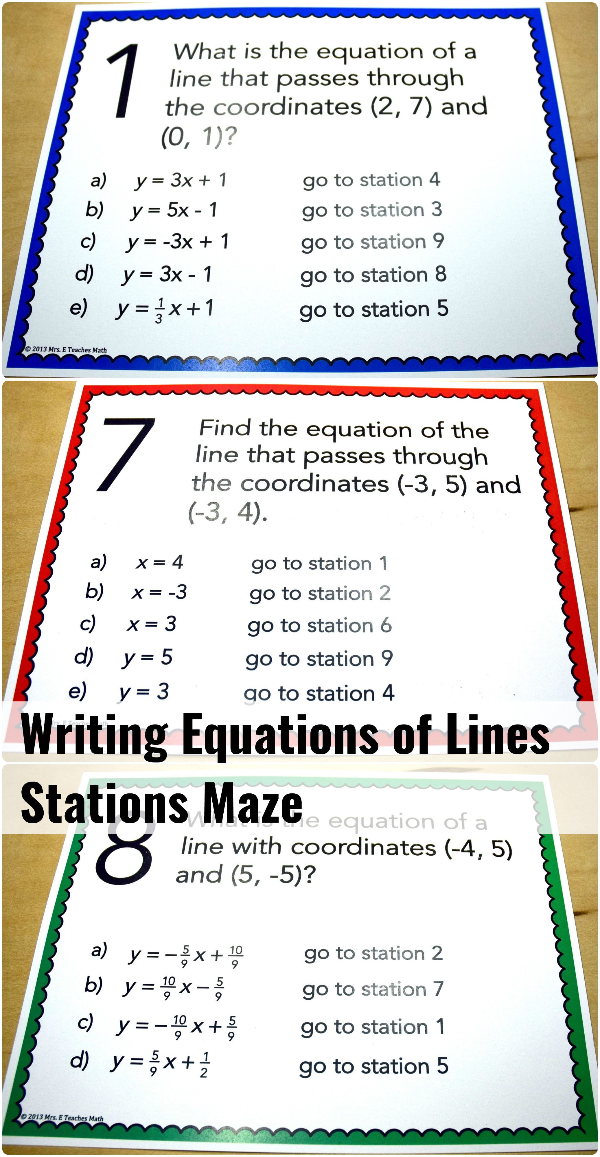Writing Equations Of Lines Stations Maze An Engaging Activity For Algebra Students Writing Equations High School Math Education Math