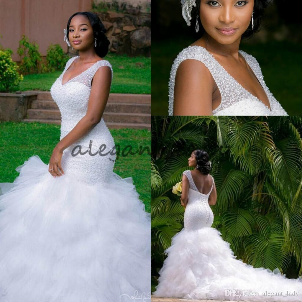 9ba5a9e6f73 Luxury Beaded Cathedral Ruffles Train Mermaid Wedding Dresses 2018 Plus  Size South African Nigerian Lace-up Fishtail Garden Bridal Dress Overskirt  Evening ...