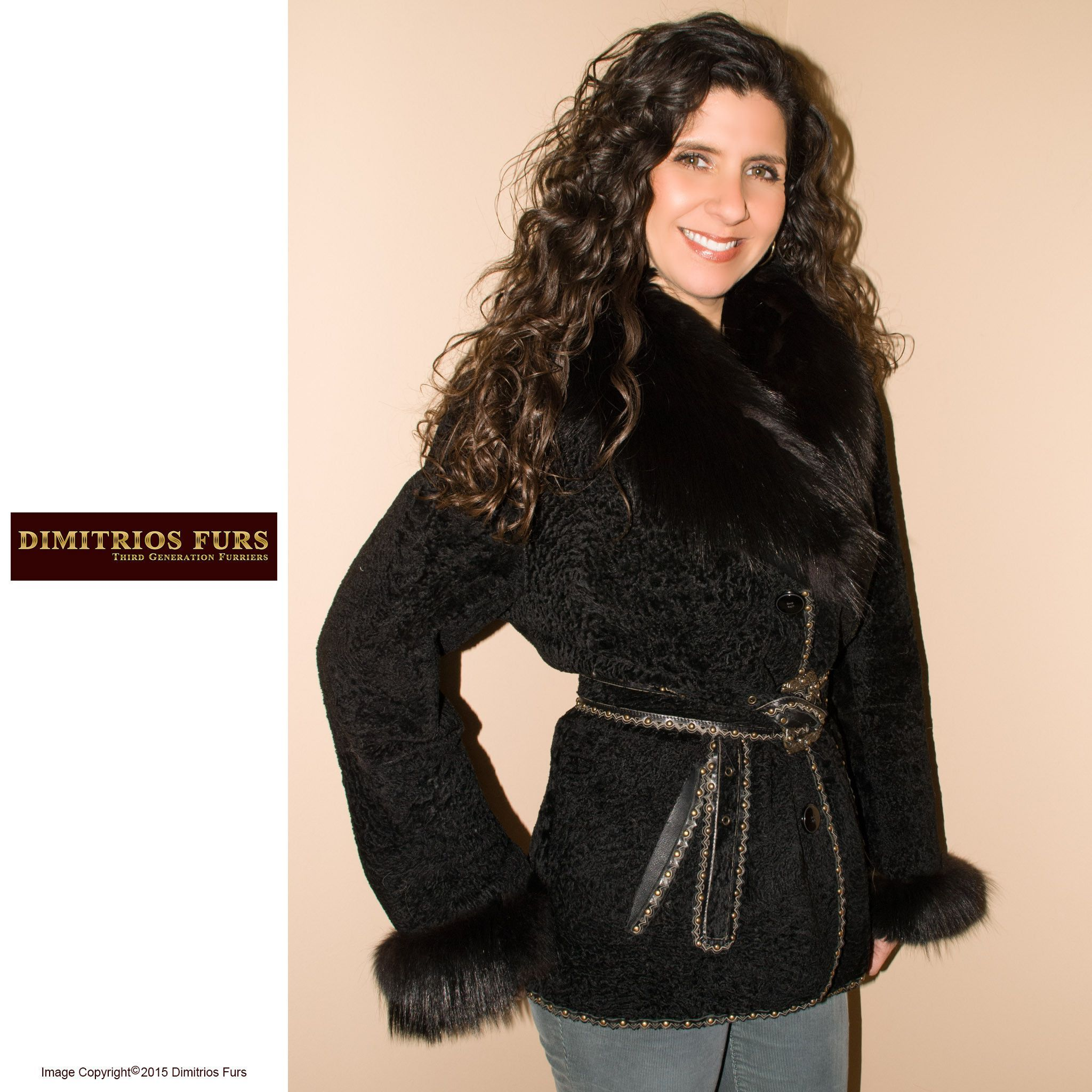 Black Persian Lamb Jacket with Fox Trimmed Cuff and Collars