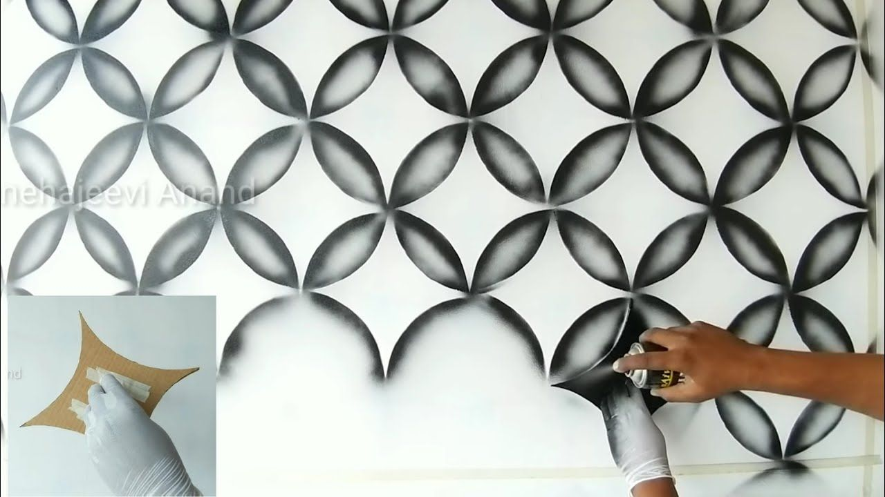 Wall Painting 3d Design Using Black Spray Wall Painting Wall