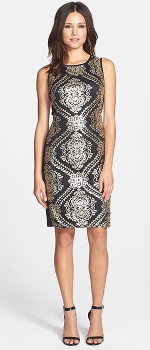 Donna Ricco - Sequined Mesh Sheath Dress (Regular & Petite)