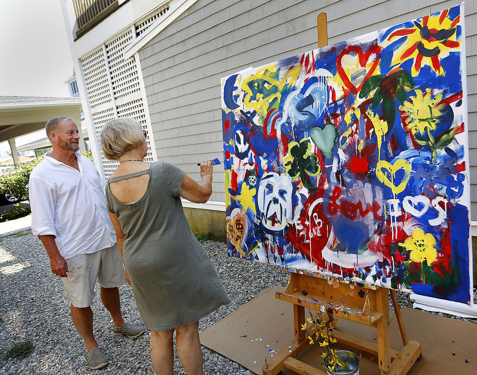 At the scituate art association elaine hanafin adds to a