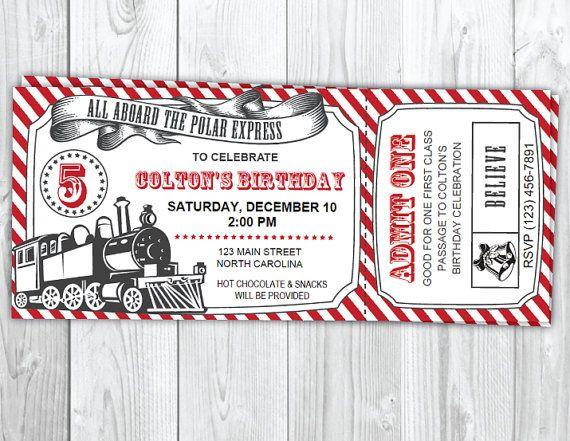 The Polar Express Birthday Invitation  Christmas Polar Express