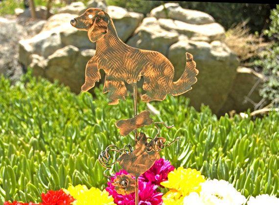 GOLDEN Retriever Dog Metal Copper Yard Art Plant Stake Outdoor Dog Grave Spike Sign Garden Marker Sculpture Patina Finish #etsymntt #metalyardart