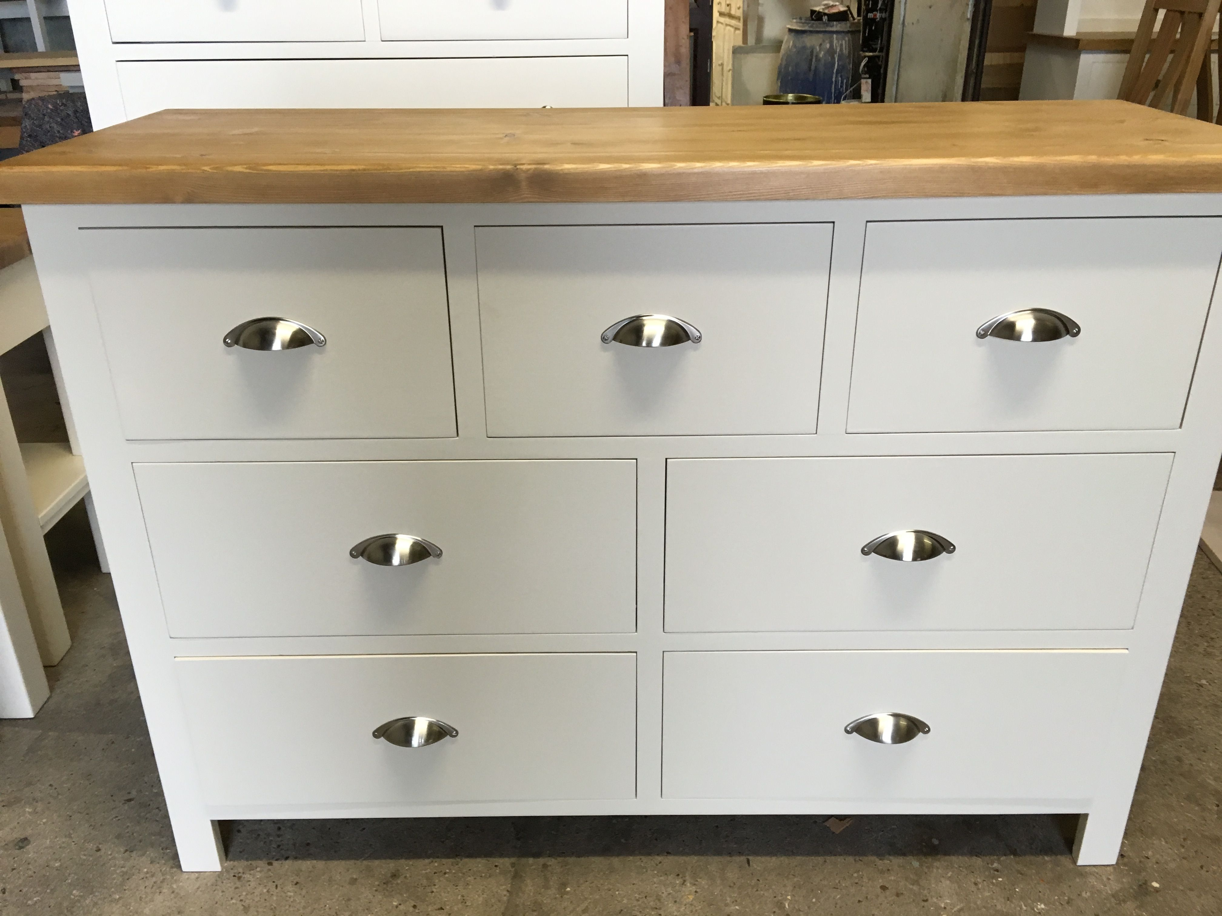 Multi Chest Painted Off White With A Chunky Pine Top And Brushed Silver Cup Handles Www Cobwebsfurniture Co Uk Pine Chests White Drawers Cup Handles