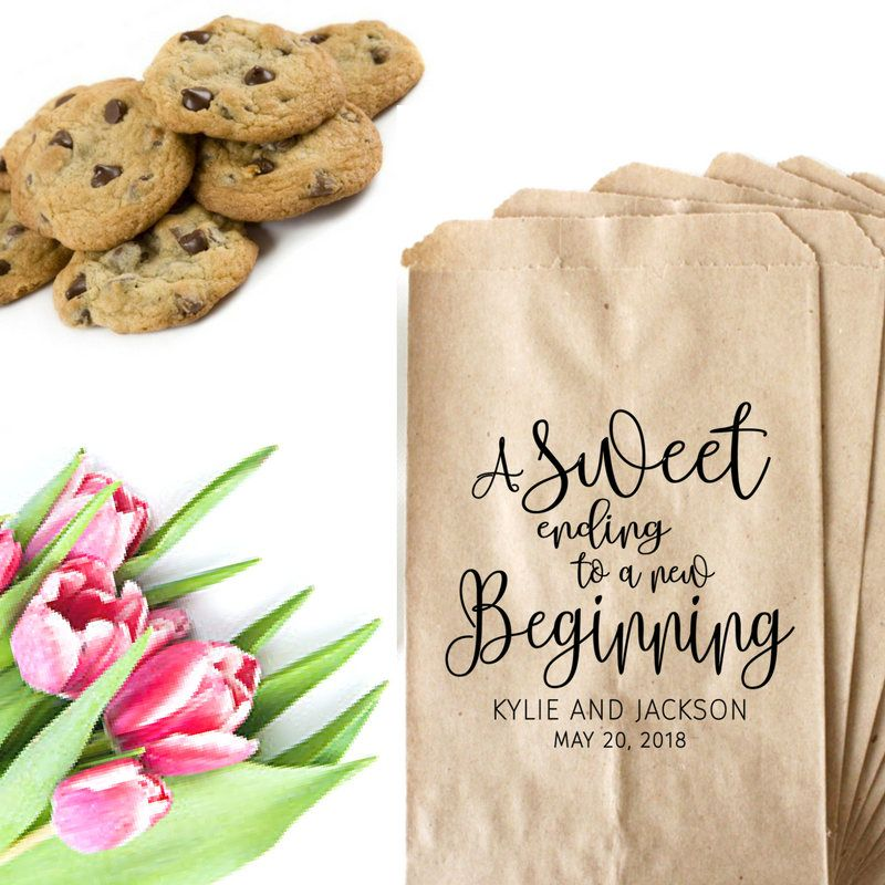 Wedding Favor Bags Stamp A Sweet Ending To A New Beginning Bag