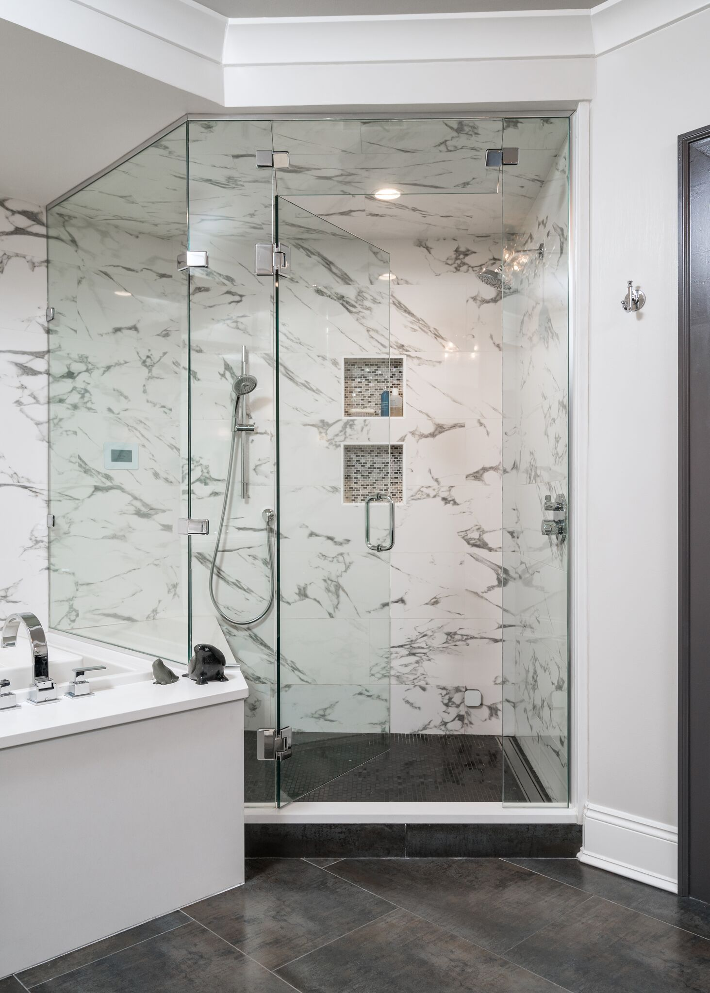 Modern Bathroom Design With Marble Shower Enclosure And Black