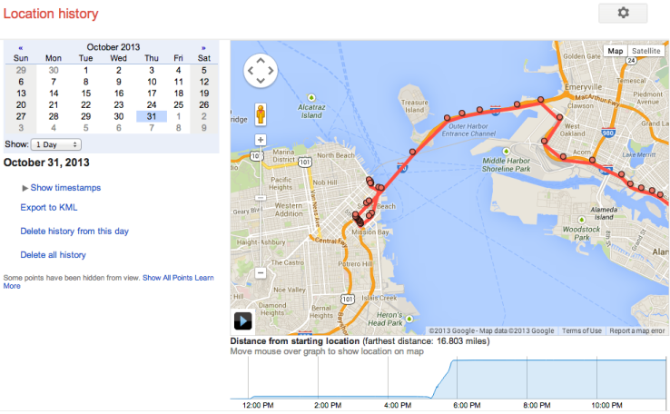 Googles Location History Browser Is A MinuteByMinute Map Of - Google map location history